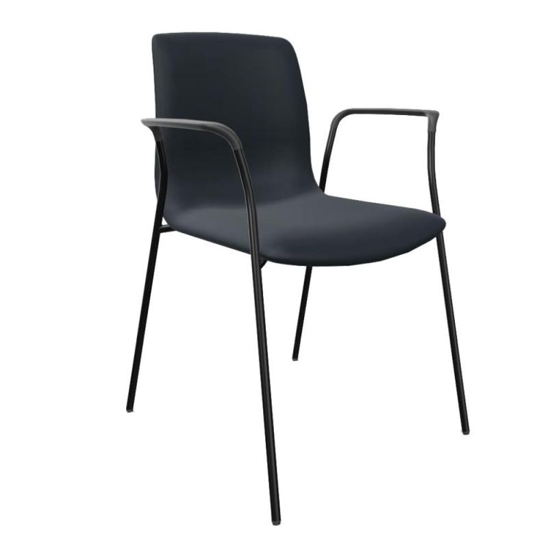 Noom 50 Chair, With Closed Arms, Dark Blue Upholstery / Black Tube Base
