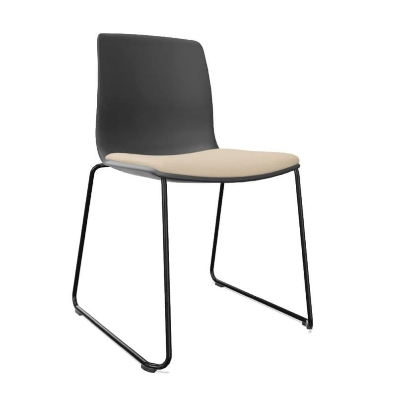 Noom 50 Chair, Black Shell With Beige Seat Pad / Black Cantilever Base