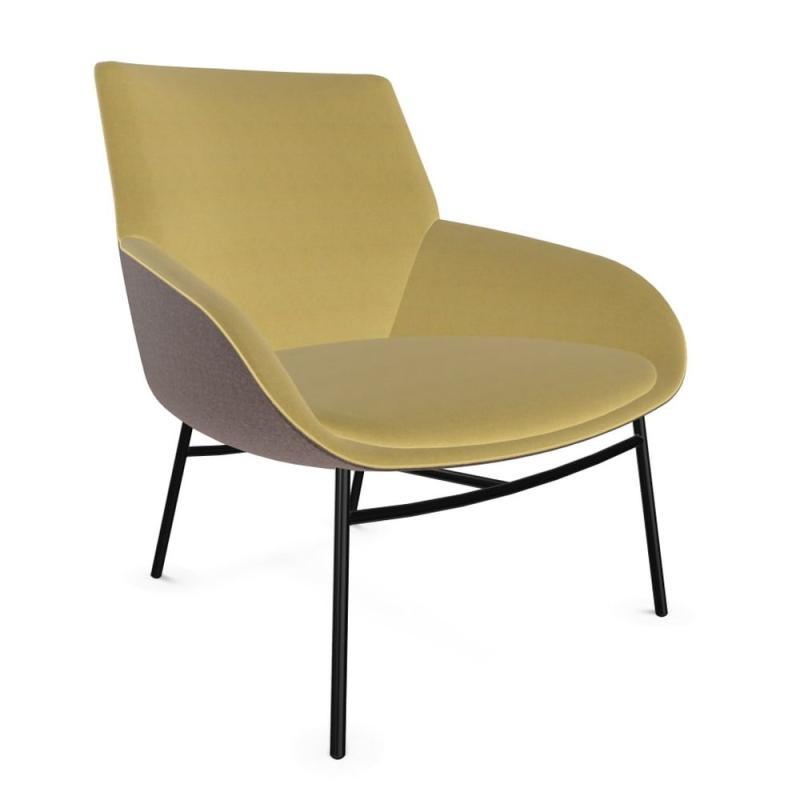 Noom Armchair, Beige & Yellow Upholstery / Black Metal Legs