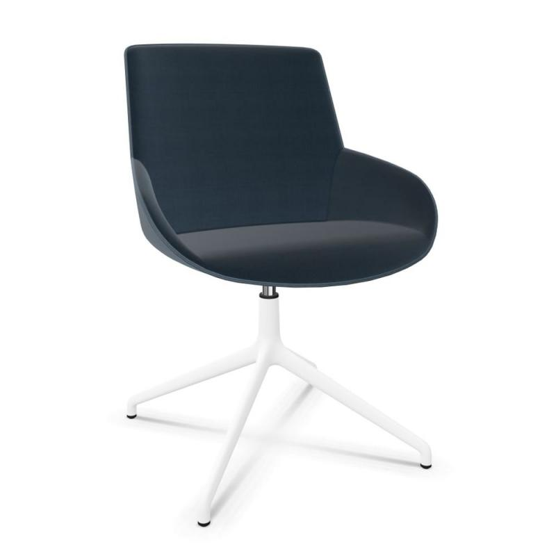 Noom Chair, Dark Blue Upholstered Seat / White Swivel Base