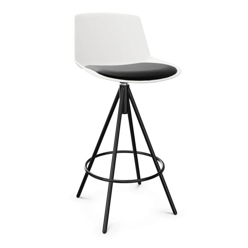 Noom Stool, H67cm, White Seat With Black Seat Pad / Black Metal Base