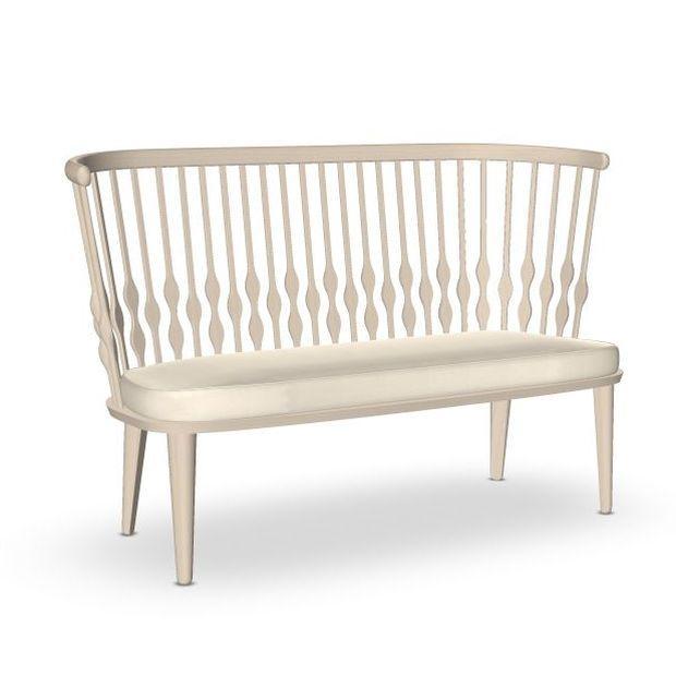 Nub Bench, White Upholstery / Beech Frame