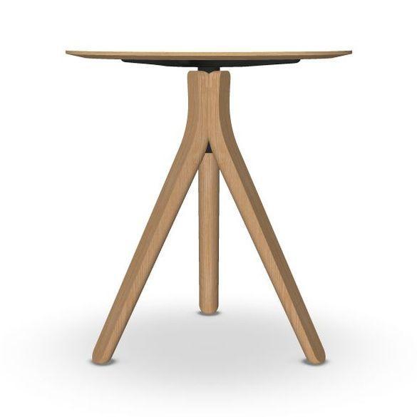 Nuez Table, Ø70cm, White Laminate Top / Wooden Base