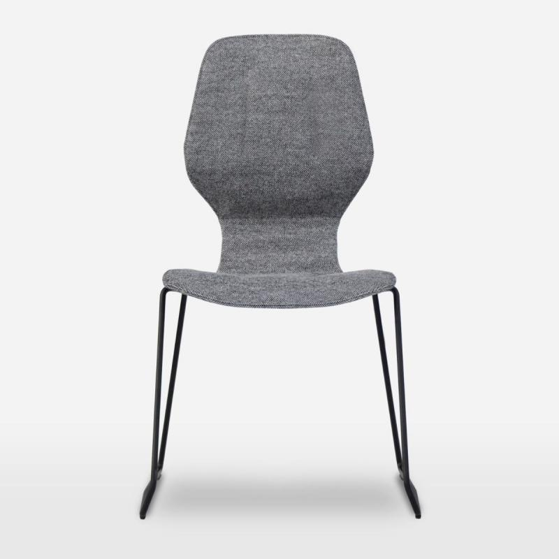 Oblikant Chair With Padded Cover, Sled Base, Light Grey Seat / Black Frame