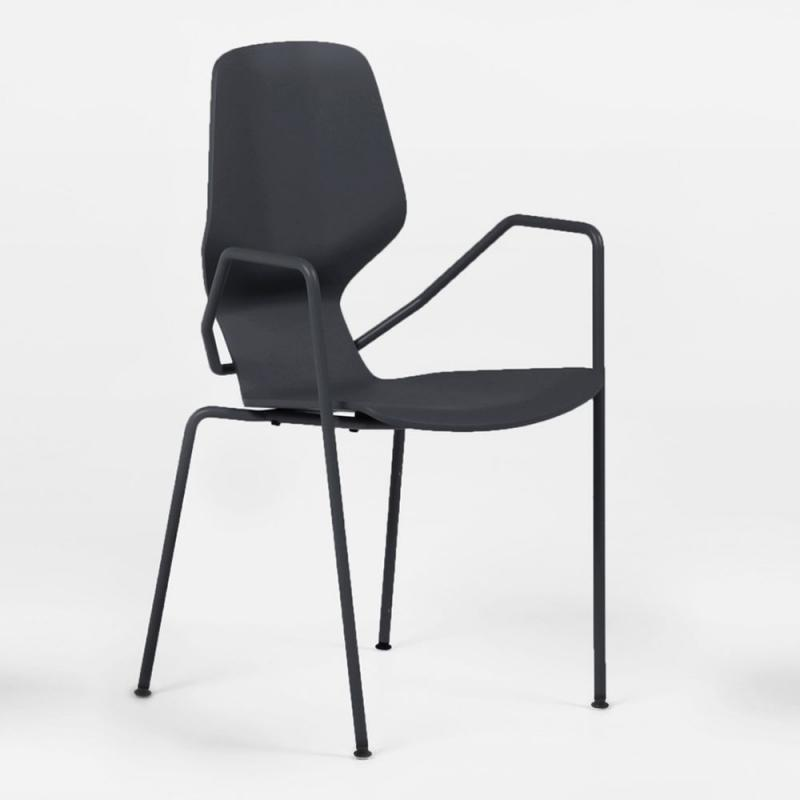 Oblikant Chair, Metal Legs With Armrest, Black