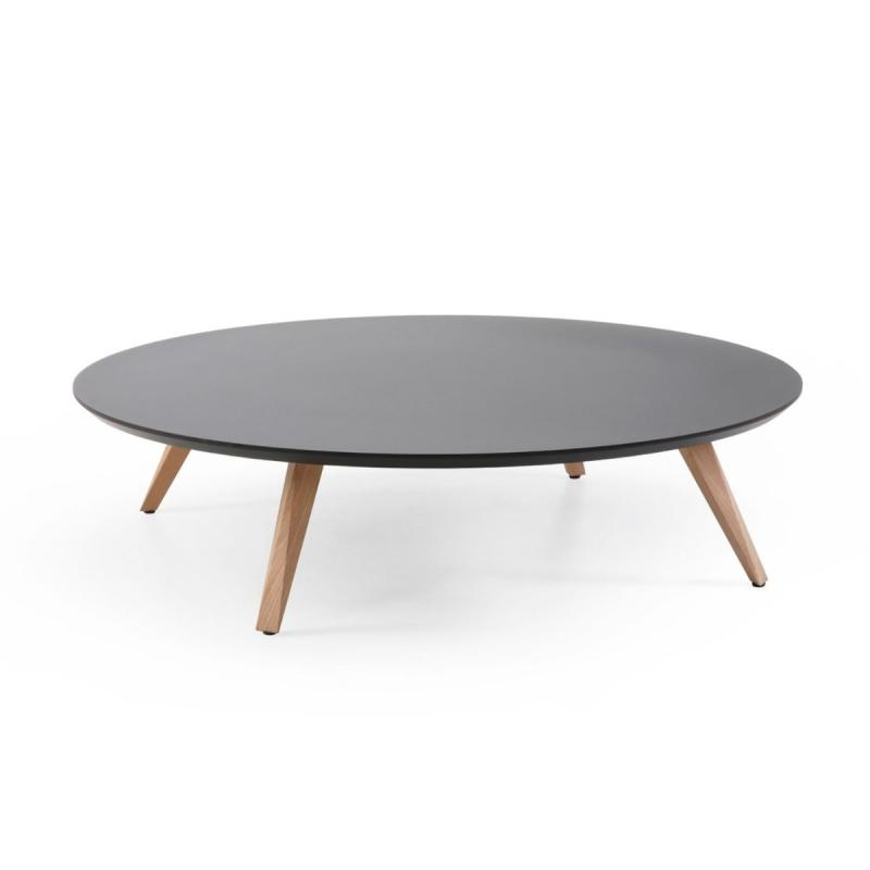 Oblique Low Table, Ø90cm, Black Fenix Top / Dark Oak Base