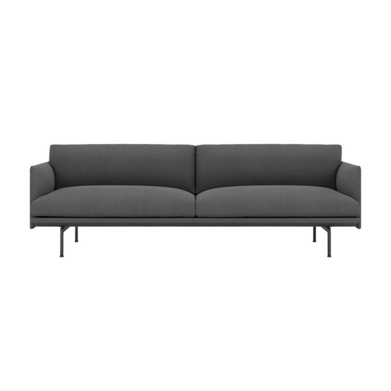 Outline Sofa, 3-Seater, Black Base