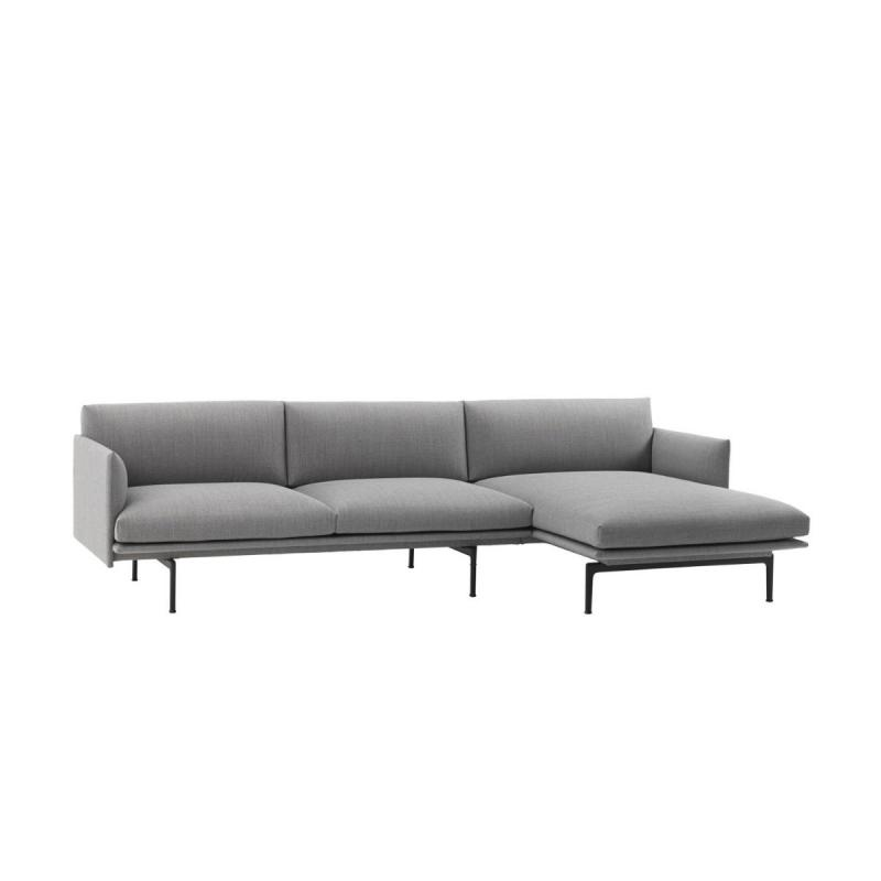 Outline Sofa Chaise Longue, Right End, Black Base, Light Grey Upholstery