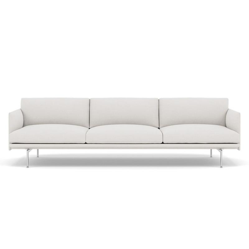 Outline Sofa, 3 1/2-seater, Polished Aluminium Base, Light Grey Upholstery