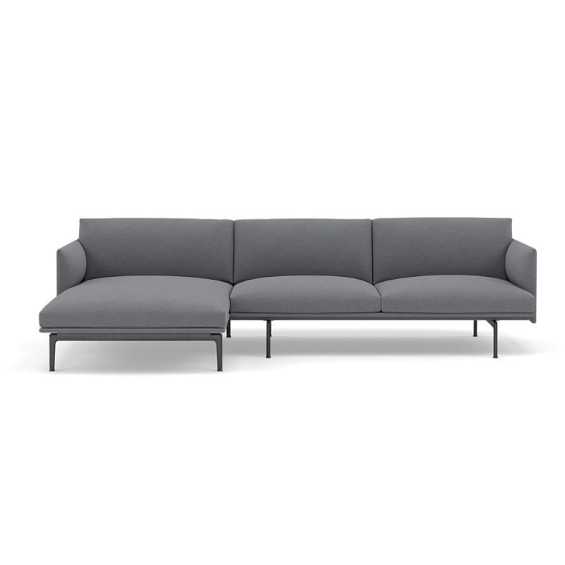 Outline Sofa Chaise Longue, Left End, Black Base, Grey Upholstery