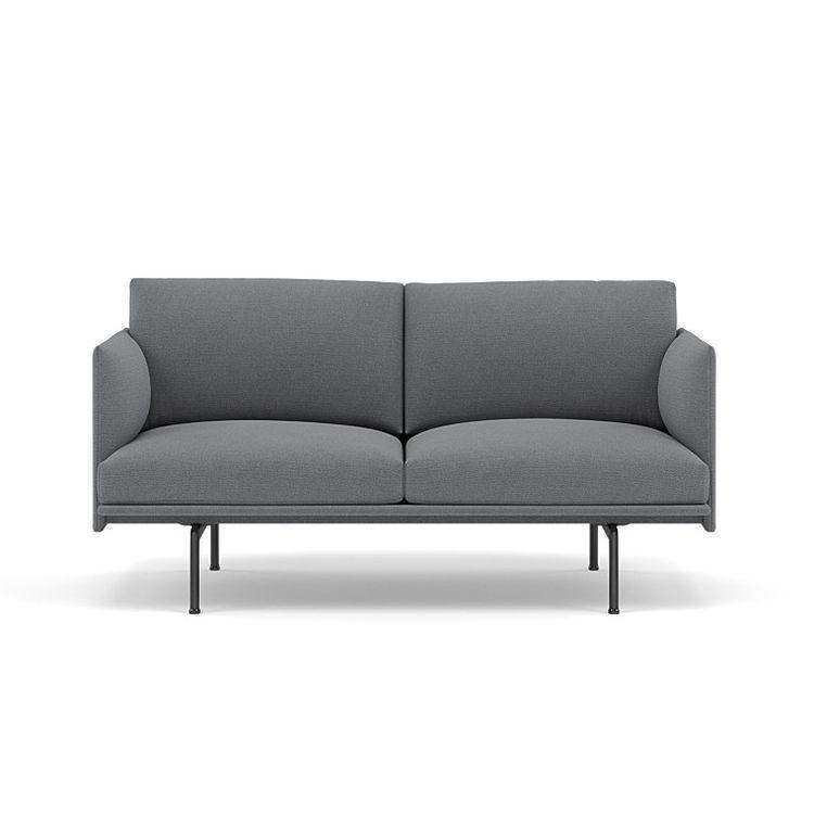 Outline Studio Sofa, 140cm, Black Base, Grey Upholstery