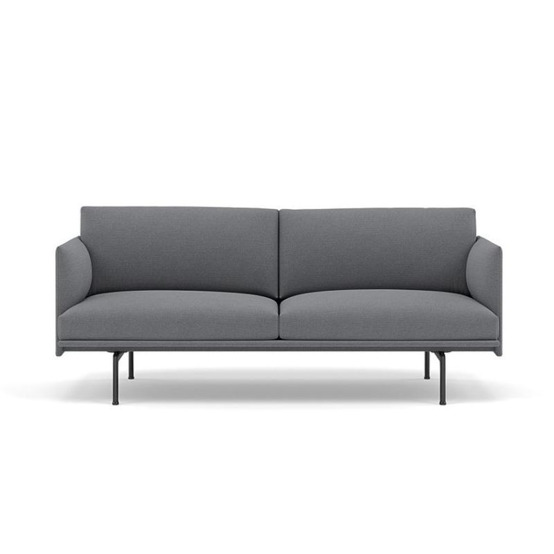 Outline Studio Sofa, 170cm, Black Base, Grey Upholstery