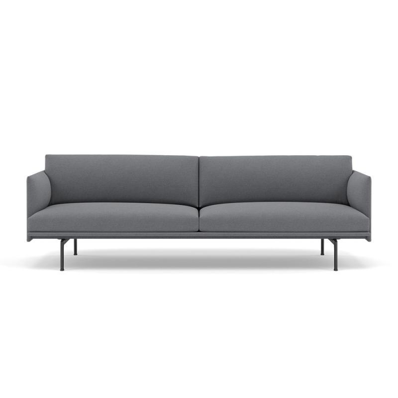 Outline Studio Sofa, 220cm, Black Base, Grey Upholstery