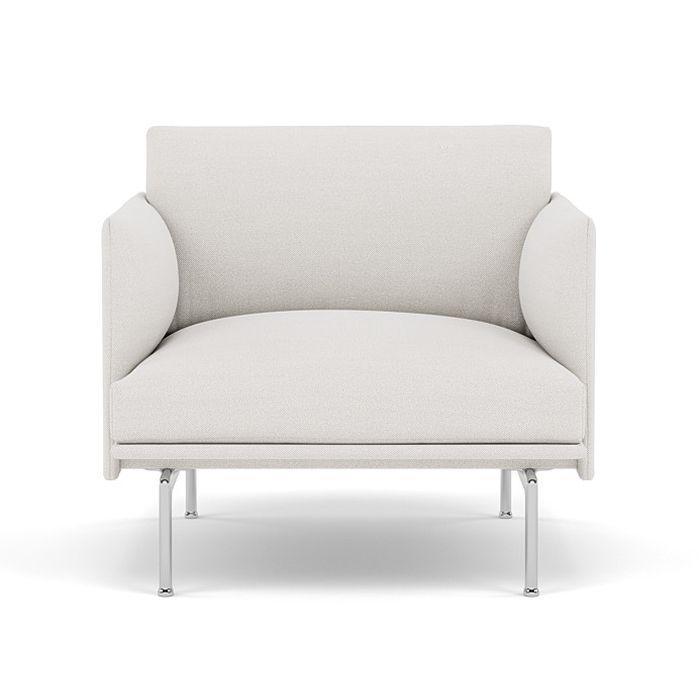 Outline Studio Chair, Polished Aluminium Base, Light Grey Upholstery