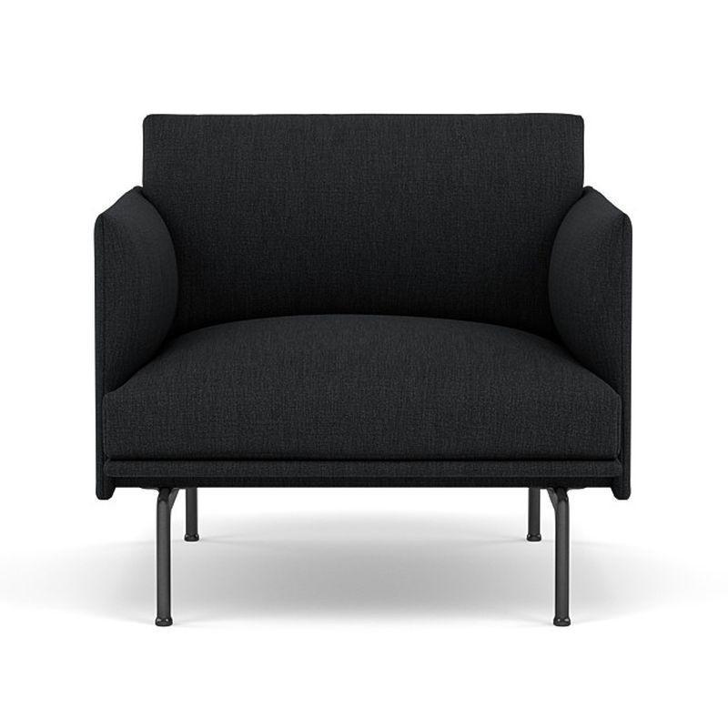Outline Studio Chair, Black Base, Dark Grey Upholstery