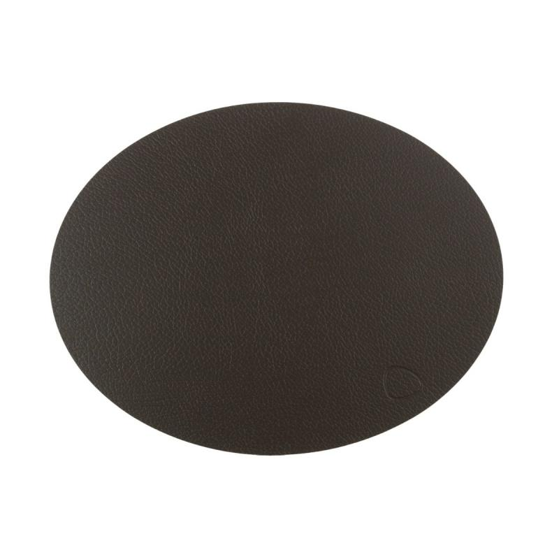 Oval Double Table Mat, L, Bull Leather, Black / Brown