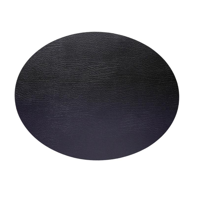 Oval Table Mat, L, Bull Leather, Black