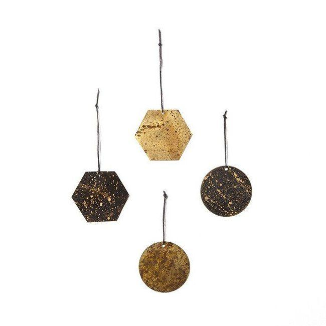 Patina Brass Ornaments, Set of 4