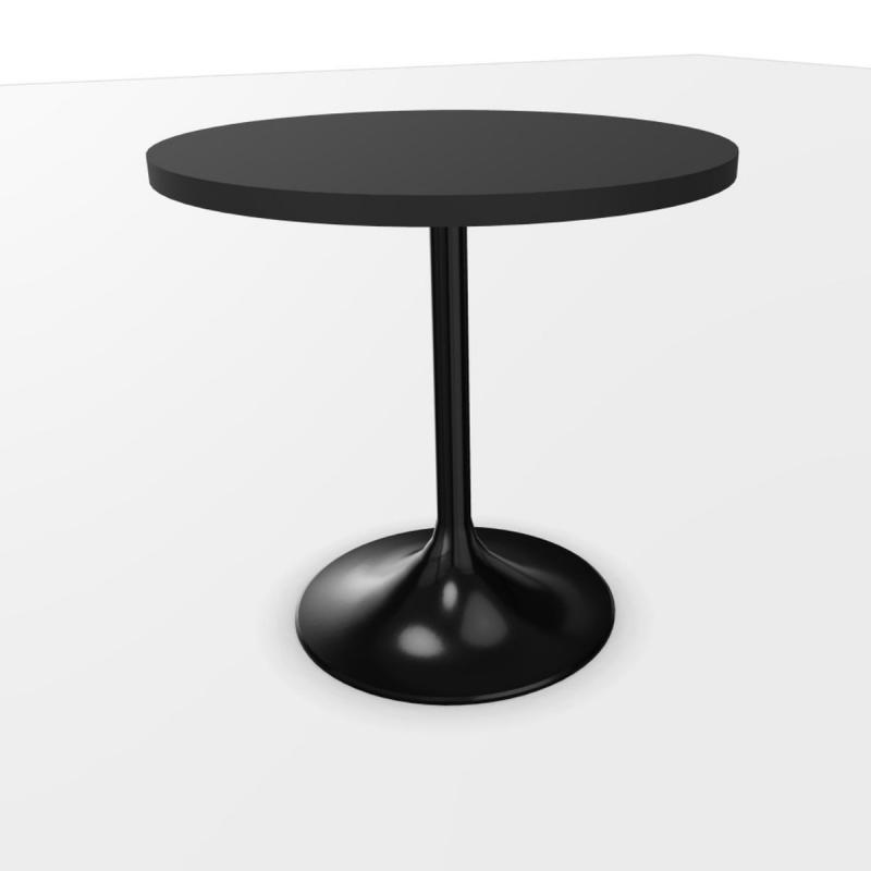 Venus Table, Ø60cm, Black Laminate Top / Black Base