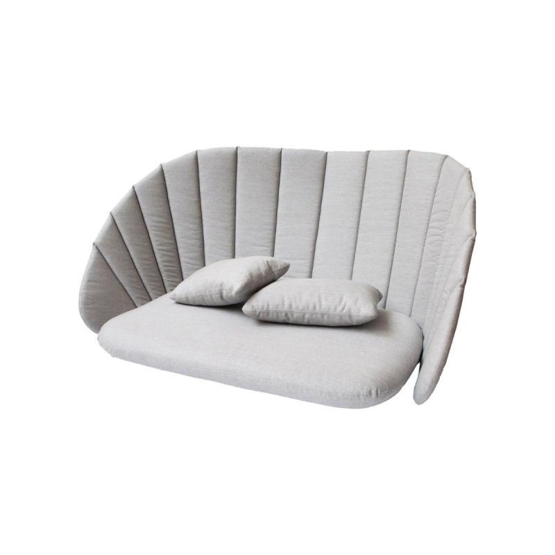 Peacock 2-Seater Sofa Cushion Set, Natté, Light Grey