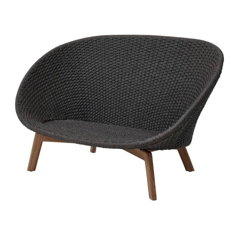 Peacock 2-Seater Sofa, Soft Rope, Dark Grey Seat / Teak Legs