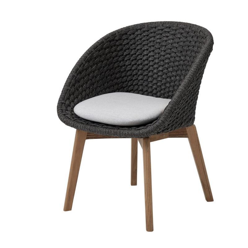 Peacock Chair, Soft Rope, Dark Grey Seat / Teak Legs