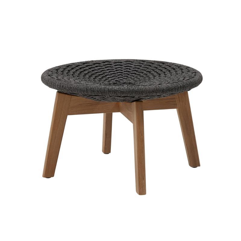 Peacock Footstool, Soft Rope, Dark Grey Seat / Teak Legs