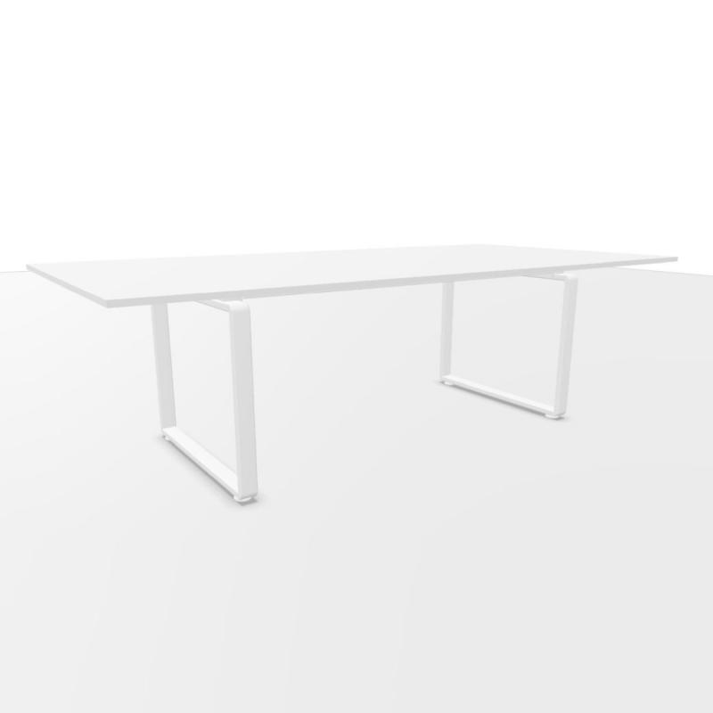 Ping Pong Meeting Table, 240x120cm, White Laminate Top / White Frame