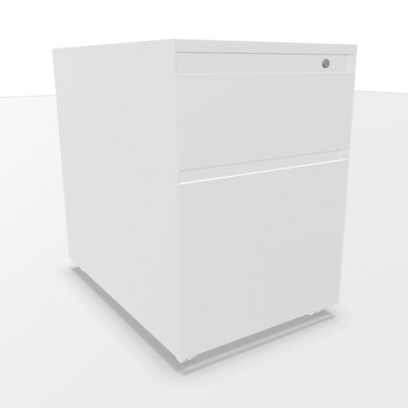 Ping Pong Mobile Pedestal With Drawer & Filing Drawer, White