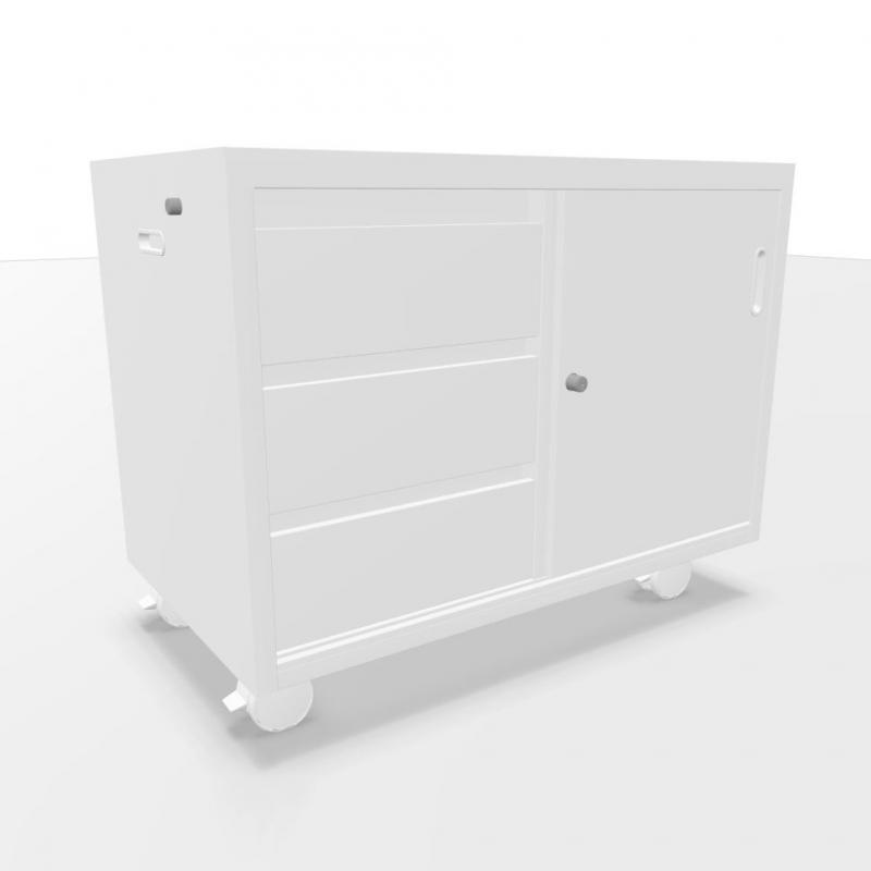 Ping Pong Mobile Sideboard With 3 Drawers & Sliding Door, White