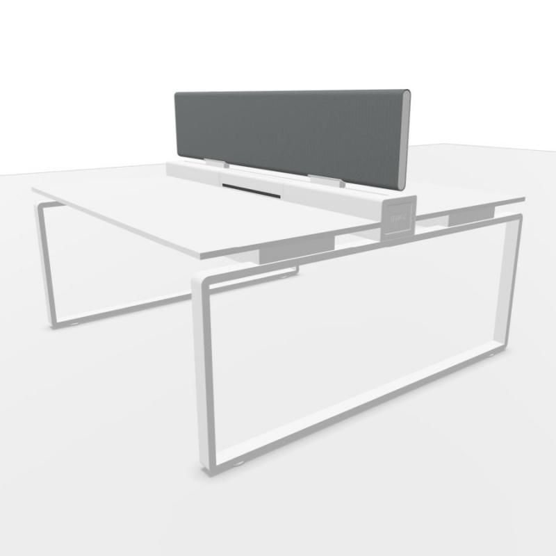 Ping Pong Work Station, With Light Grey Double Frontal Screen, 160x160cm, White Laminate Top / Textured White Frame