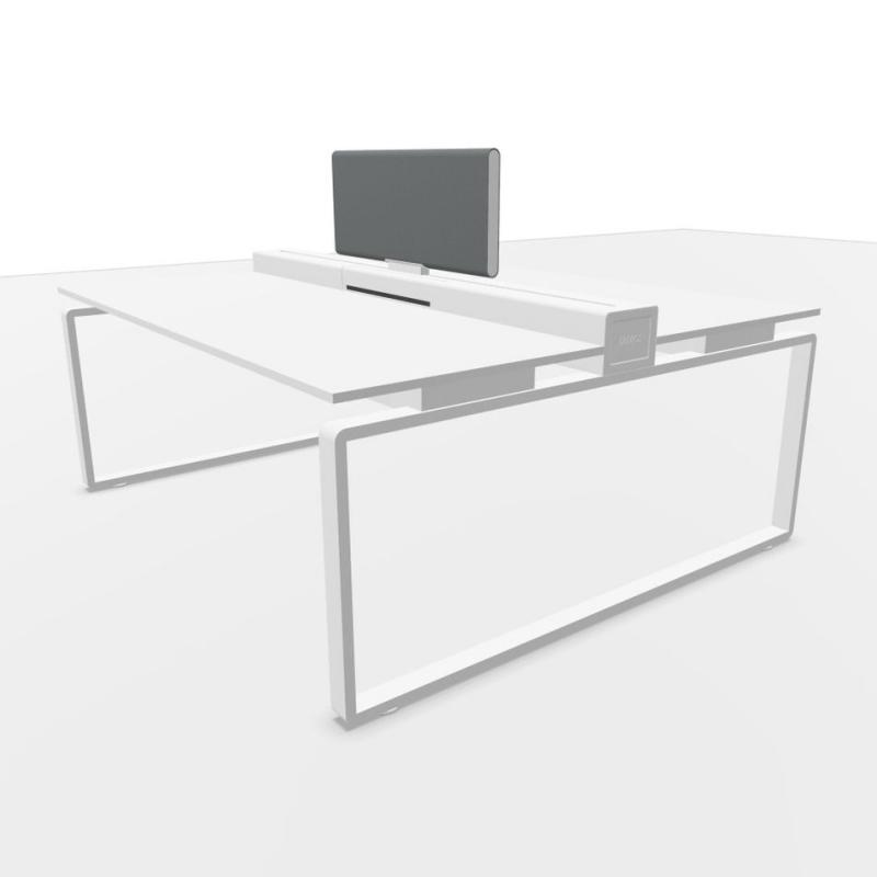 Ping Pong Work Station, With Light Grey Individual Frontal Screen, 180x160cm, White Laminate Top / Textured White Frame