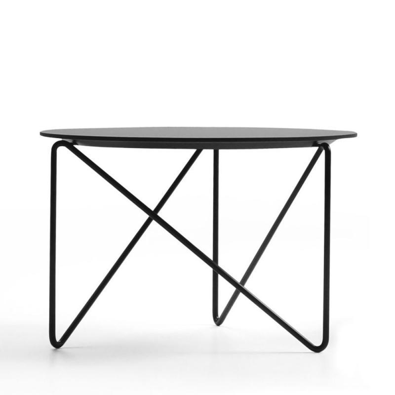 Polygon Low Table, Ø60x40cm, Black HPL Top / Black Metal Base (Indoor & Outdoor)