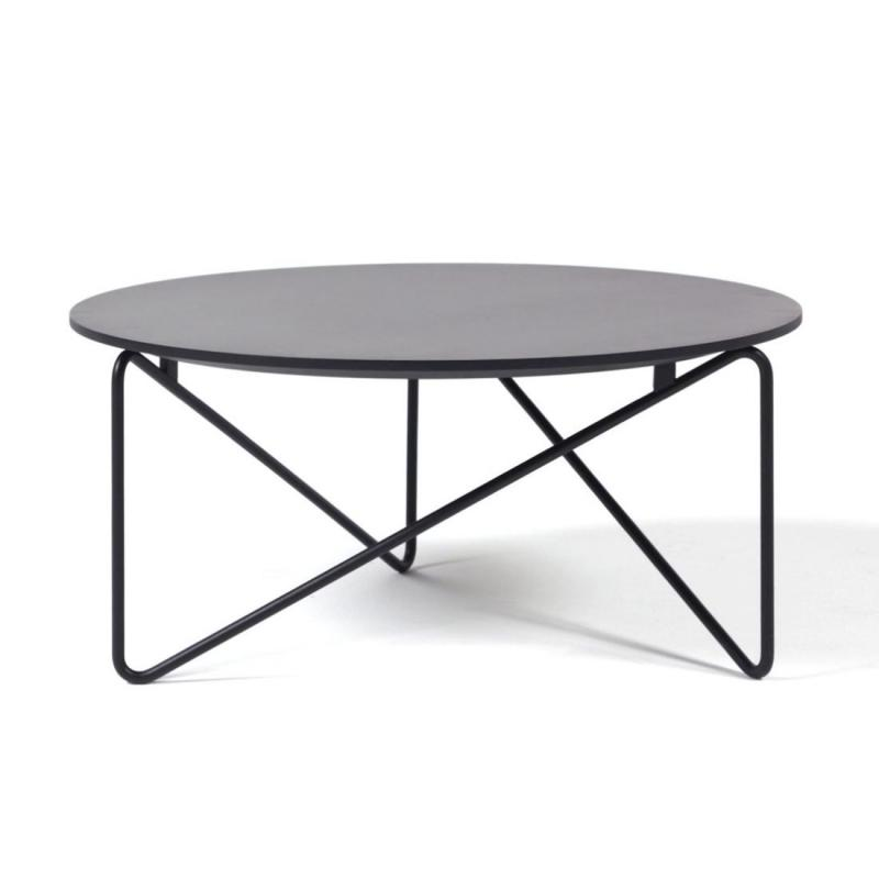 Polygon Low Table, Ø72x32cm, Black Fenix Top / Black Metal Base