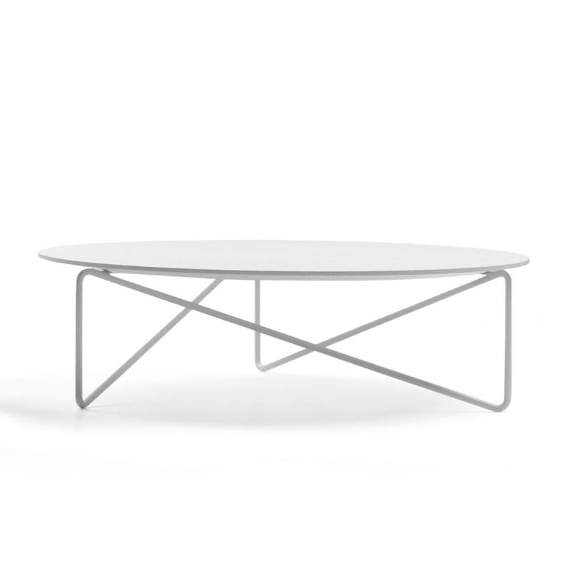Polygon Low Table, Ø84x24cm, White Fenix Top / White Metal Base