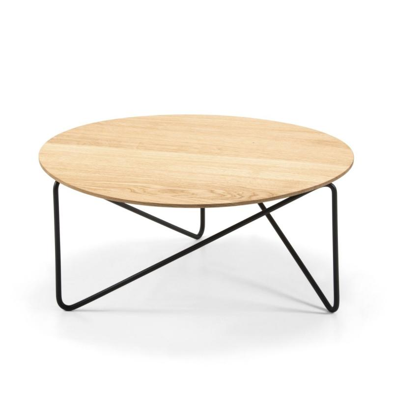 Polygon Low Table, Ø60x40cm, Natural Oak Top / Black Metal Base