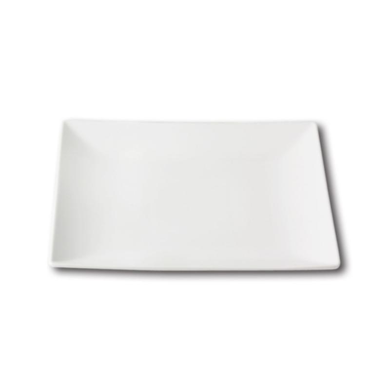 Quadro Stoneware Flat Plate, White