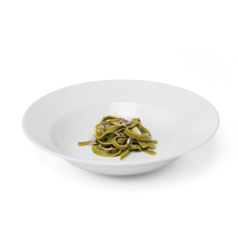 Quadro Stoneware Pasta Plate, White