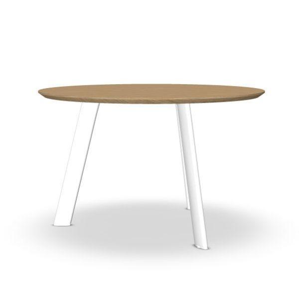 Radial Conference Table, Ø120cm, Oak Top / White Metal Base