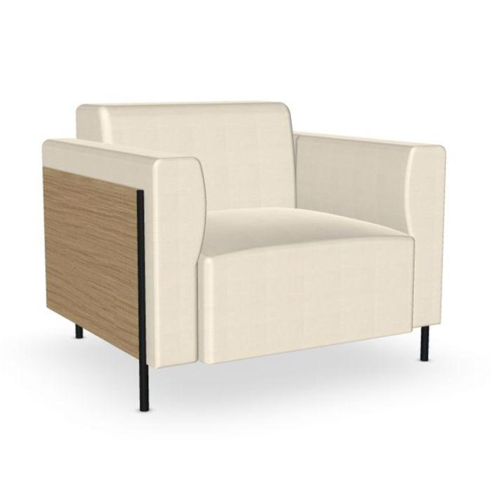 Rap Lounge Chair, Front White Upholstery / Oak Back / Black Tube Base