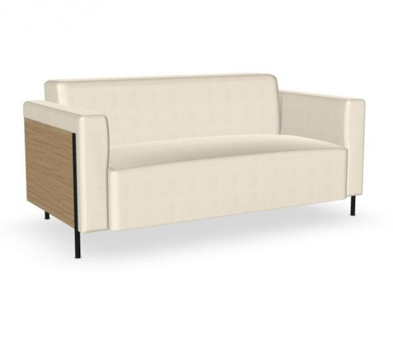 Rap Sofa, 2-Seater, Front White Upholstery / Oak Back / Black Tube Base