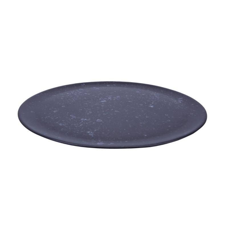 Raw Round Dish, Medium, Black Spotted