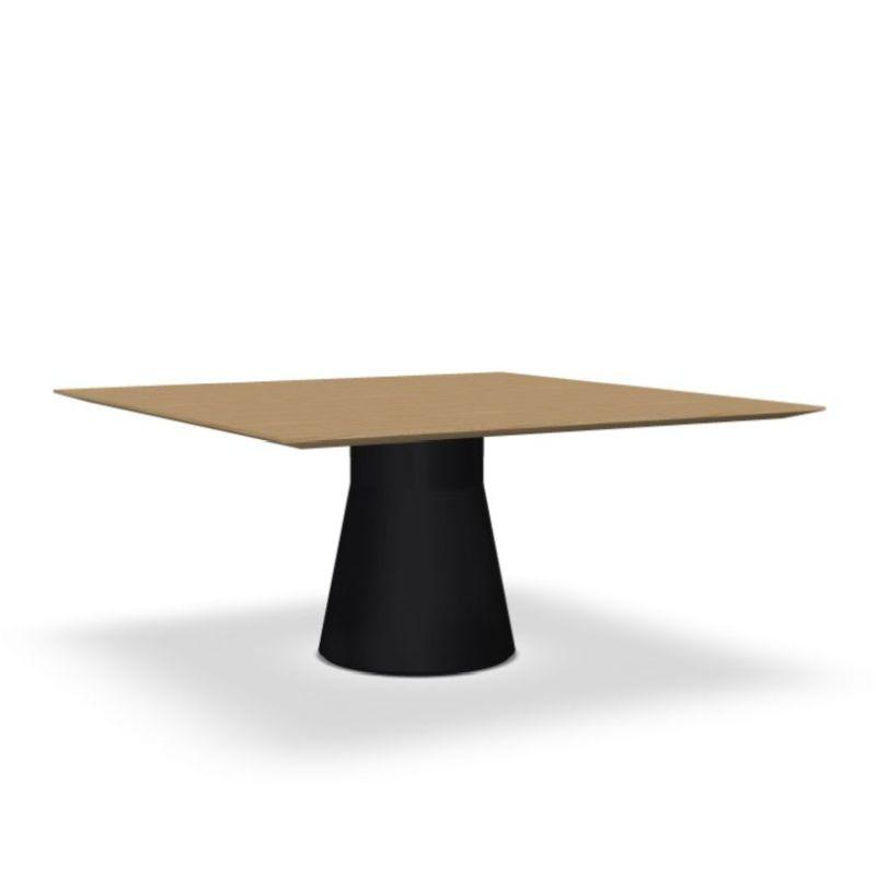 Reverse Conference Lounge Table, 140x140cm, Oak Top / Black Base
