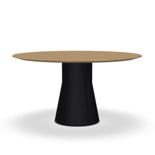 Reverse Conference Table, Ø140cm, Oak Top / Black Base