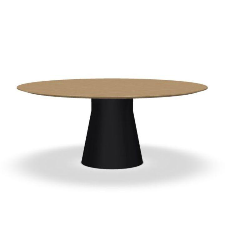 Reverse Conference Table, Ø180cm, Oak Top / Black Base