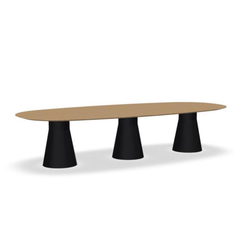 Reverse Conference Table, 350x150cm, Oak Top / Black Base