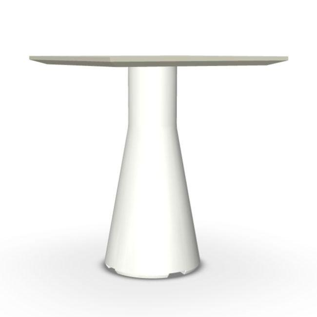 Reverse Occasional Table, 40x40cm, Sand Top / White Base