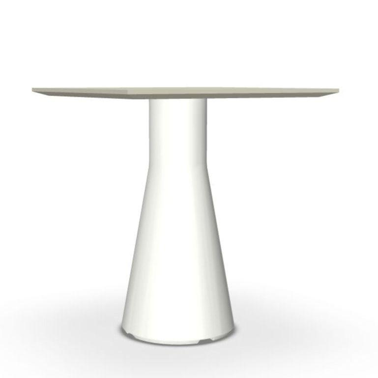 Reverse Occasional Table, 50x50cm, Sand Top / White Base