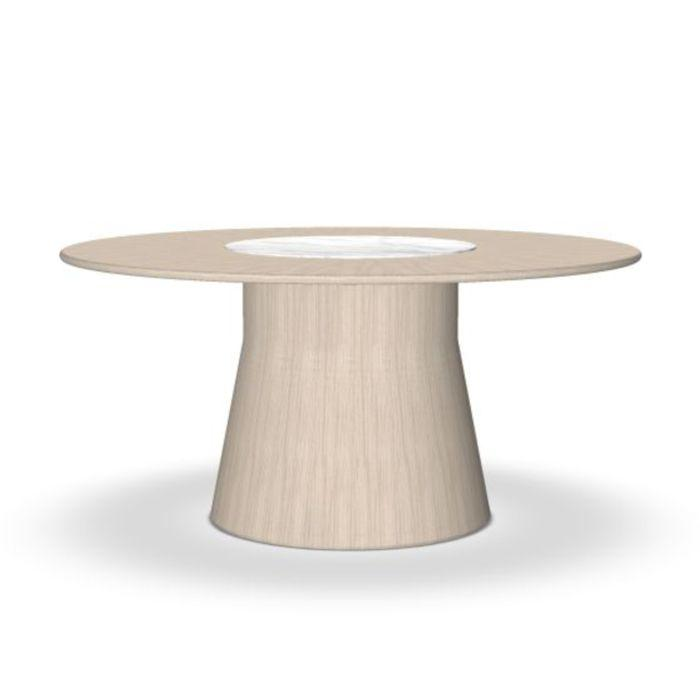 Reverse Wood Table, Ø160cm, White Marble Top / Ash Base