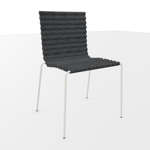 Rib Chair, Grey Felt Seat / White Frame